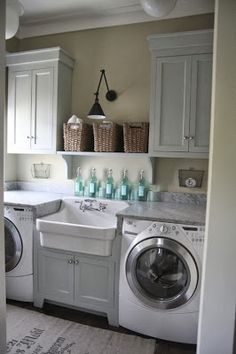Cabinet In Middle Love The And Basin Farmhouse Sink Laundry Decor
