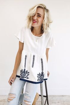 White Blouse with Navy Embroidery | ROOLEE