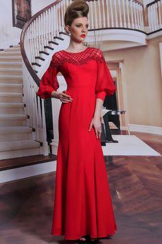 Dorisqueen latest design long sleeve red woven Mother of bride dress  http://haolifashion.en.alibaba.com/