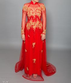 Red and Gold Ao Dai | Vietnamese Bridal Dress with Embellishment (#KALEY)