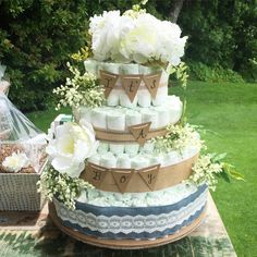 DIY Shabby Chic / Rustic Baby Boy Shower 3 tiered Diaper Cake