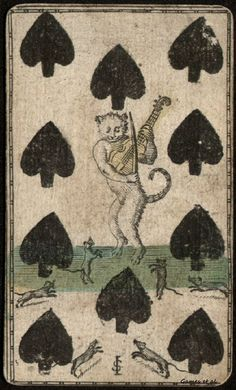 "spoookyscary: "" Playing card, 1700s. Ten of spades with cat playing fiddle for dancing mice. """