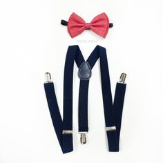 ★color: coral bow tie and navy blue suspenders matching set for children 5+, teens and adults    ★suspenders size measurement fits children 5 years