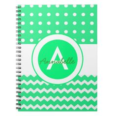 Green Polka Dot Chevron Monogram Personalized Spiral Notebook