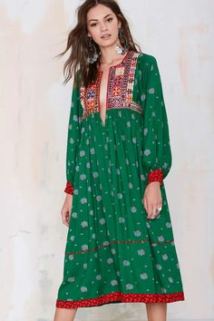 Vintage Devi Embroidered Dress