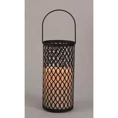 Metal Lantern With Indoor-Outdoor Resin Candle, 10.5""