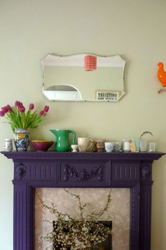 This fireplace is what 'home' should feel like. Home of Megan Price and Robert Shadbolt, via design*sponge. Paint Fireplace, Fireplace Mantle, Vintage Fireplace, Home Decor Inspiration, Design Inspiration, Design Ideas, Purple Fire, Dark Purple, All Things Purple
