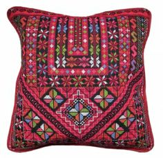 Embroidered Pillow Cover, Red & Multi Chest Panel Palestinian Embroidery