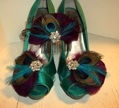 Shoe Clips, Feather Fascinator, Peacock Bridal Set, Wedding Hair Clip, Turquoise #ShoeClipsOnly