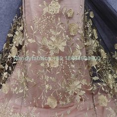Gold metallic on Black mesh 3D embroidered dress lace fabric by yard