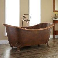 "66"" ISABELLA COPPER DOUBLE-SLIPPER CLAWFOOT TUB - ROLL TOP - OVERFLOW & OIL RUBBED BRONZE DRAIN - NO RIM DRILLING $2735. http://www.signaturehardware.com/bathroom/bathtubs/copper-tubs/isabella-hammered-copper-double-slipper-bathtub-on-claw-feet.html"