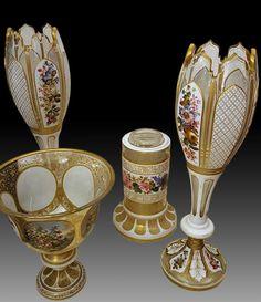 Antique Set Of Boheme Glass Vases, Rozika Upfold, Proantic