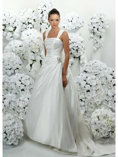 Satin Softly Curved Neckline Ruffled Bodice A-line Wedding Dress