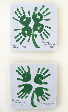 Adorable Clover Handprint Art from Roundup of 19 Amazing St Patricks Day - Diy and crafts interests March Crafts, St Patrick's Day Crafts, Daycare Crafts, Classroom Crafts, Baby Crafts, Holiday Crafts, Arts And Crafts, Classroom Door, Infant Crafts