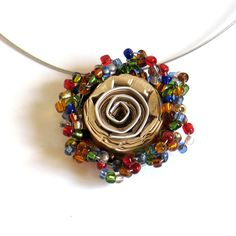 Rainbow Statement Necklace, Rose Pendant Jewerly, Jewellery, Upcycled Nespresso Capsules, Colorful Glass Beads, Boho, OOAK, Recycled