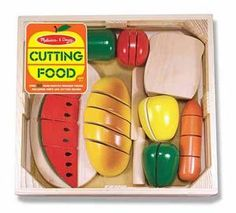 This is the best food cutting - wooden toy set that I have come across for kids. It is totally fun, and easy for ages 3+ I have purchased it countless times because it is always a hit. Thank you Melissa and Doug for great toys!!
