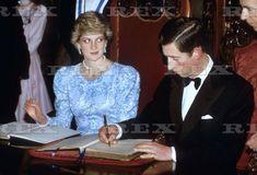 February 13, 1987: Prince Charles and Princess Diana at a Farewell Banquet, Palacio Da Bolsa, Porto.