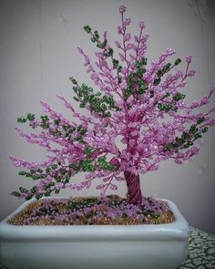 Beaded spring bonsai درختچه بهاری منجوقی