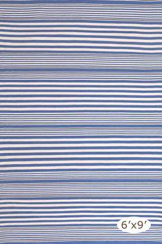 RugStudio presents Dash And Albert Rugby Stripe Denim Woven Area Rug
