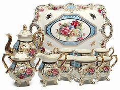 Royalty Porcelain Vintage Floral Dining Tea Cup SET, Service for Handmade & Hand-painted, Gold-plated Coffee Cup Set, Tea Pot Set, Pot Sets, Tea Sets Vintage, Vintage Floral, China Dinnerware Sets, China Tea Sets, China Porcelain, Porcelain Jewelry