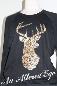 Leopard Deer Tee on Black Raglan
