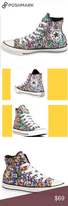 CONVERSE CHUCK TAYLOR ALL STAR sequin PRINT HI Top New in box  CONVERSE CHUCK TAYLOR ALL STAR sequin PRINT HI SHOE   Color: multicolored Sequins print  › Lace up hi shoe › Canvas upper › Rubber toe cap › Metal eyelets › Vulcanised rubber sole › All star logo label on heel Sold out and rare Tags Abercrombie Aeropostale Aldo adidas Bebe bliss Brandy Melville coach converse forever 21 free people gap guess hollister hm juicy couture Nine West papaya Sephora Steve Madden urban outfitters urban…