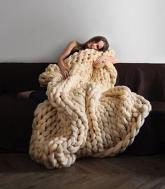 bc9c085986  Chunky Knits  by Anna Mo Incorporate Enormous Stitches to Comfortably  Engulf the Body Big. Big Yarn BlanketHand Knit ...