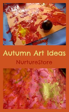 """Gorgeous autumn art! """"Marble painting"""" with acorns! Would be great to do after a nature walk!!"""