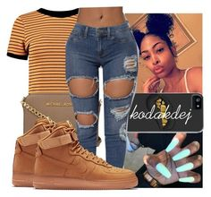 """Untitled #819"" by kodakdej ❤ liked on Polyvore featuring Boohoo, MICHAEL Michael Kors, Pacific Beach and NIKE"