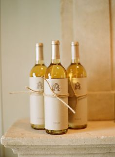 Wedding wine party favor with bride/groom monogram {Mindy Weiss}