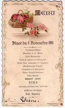 Some precious french antique menus found while trolling the net.I love the delicate ornamentation and, of course, the menu items sound . Vintage Menu, Vintage Labels, Vintage Ephemera, Vintage Paper, French Vintage, Vintage Art, Moët Chandon, Free Printable Art, Free Printables