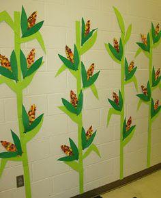 I hope you all know that Thanksgiving is NEXT WEEK. Preschool Bulletin, Classroom Crafts, Classroom Themes, Fall Classroom Decorations, Classroom Door, Preschool Lessons, Preschool Crafts, Crafts For Kids, School Hallways