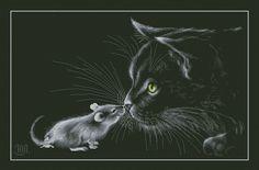 """Вышивка """"Кошка с мышкой"""".. Обсуждение на LiveInternet - Российский Сервис Онлайн-Дневников"""