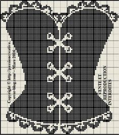 Corset pattern / chart for cross stitch, crochet, knitting, knotting, beading… Shirt Embroidery, Cross Stitch Embroidery, Corset Noir, Stitches Wow, Corset Pattern, Cross Stitch Needles, Beaded Bracelet Patterns, Modern Cross Stitch Patterns, Craft Patterns