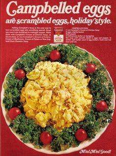 https://flic.kr/p/69SYk2   Vintage Ad #763: Campbelled!   Clam chowder to make scrambled eggs creamy?  Source: Family Circle, December 1971