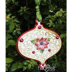 Deck the Halls Bauble Shaped Ornament - Give your tree an old fashioned feel this Christmas Season with pretty paper ornaments created with the Noel Ornament Die from Heartfelt Creations! Christmas Cards 2018, A Christmas Story, Christmas Tag, Handmade Christmas, Christmas Ideas, Paper Ornaments, Diy Christmas Ornaments, Heartfelt Creations Cards, Poinsettia Flower