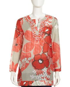 Montego-Print Beaded Tunic by Lafayette 148 New York at Last Call by Neiman Marcus.