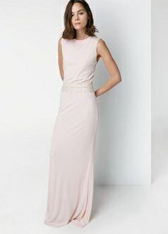 Beaded collar gown - Dresses - Women - MANGO