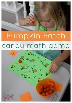 Pumpkin patch candy math game for number recognition.