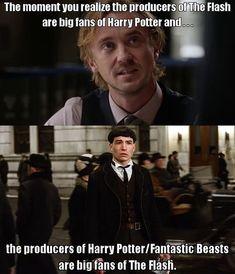 Harry Potter Comics, Harry Potter Puns, Movies And Series, Cw Series, Julian Albert, The Flashpoint, Credence Barebone, Superhero Shows, Superhero Memes