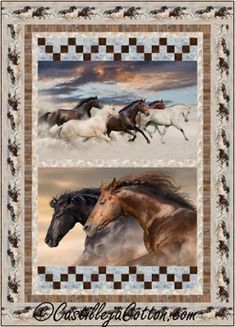 """Horse panels with simple pieced blocks for rows. Twin quilt pattern. Finished Size: Twin 61"""" x 85"""" Skill Level: Advanced Beginner Technique: Pieced"""