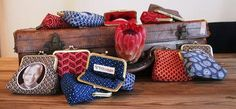 Clutch frame purse in Indigo Shweshwe for coins, cards/make-up - Beehives From…