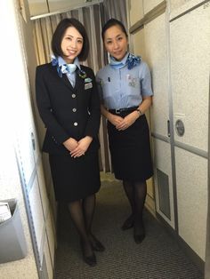 Cheerful smile as always. ANA cabin attendants