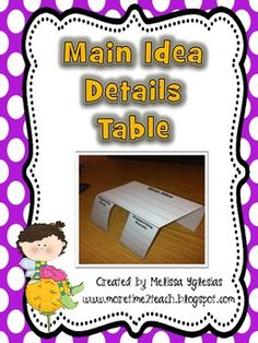 SI.3.2 Determine the main ideas and supporting details of a text read aloud or information presented in diverse media and formats including visually, orally, and quantitatively.   Footstool graphic org (main idea/details)
