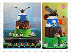 """""""How To Train Your Dragon 2"""" Birthday Cake, featuring some of DreamWork's most popular Dragon Toys. All the dragons on the cake are toys. Hiccup at the very top is made of sugar. A..."""