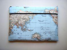 17,3 inch Laptop Sleeve Pocket Blue Asia Handmade by Babimini, €30.00