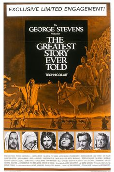 The Greatest Story Ever Told -- Director George Stevens disavowed gimmicks and, in his epic retelling of the Four Gospels of the New Testament, set this dramatization in a panoramic framework of splendidly evocative backgrounds, including the astonishing buttes of Utah. Jesus is portrayed by Max von Sydow in a difficult and highly praised performance. A huge all-star cast (including Charlton Heston as John the Baptist) animate the vast landscape of the film. Based on The Bible, Fulton…