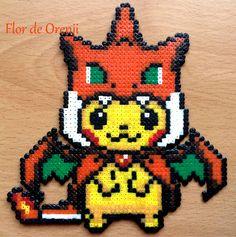 Pikachu Perler Pikachu hama beads Charizard por FlordeOrenji