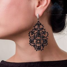 Lace tatting earrings Angelica French lace handmade by MadamKruje