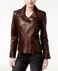 Calvin Klein Leather Quilted Moto Jacket